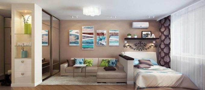 Как разделить комнату: пример совмещения спальни и гостиной