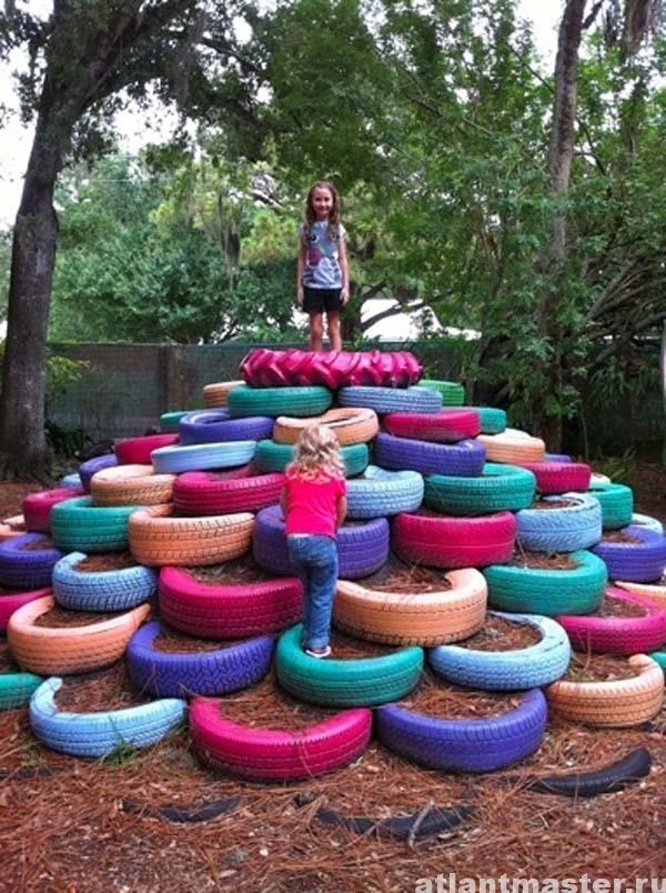 Детская площадка на даче своими руками из покрышек фото