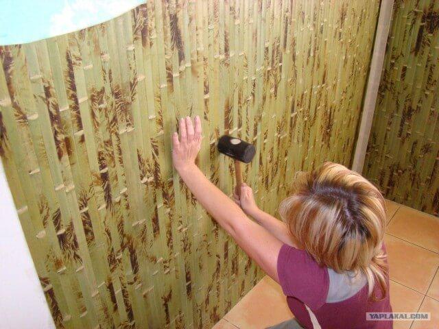 Клеим на кирпич или бетон